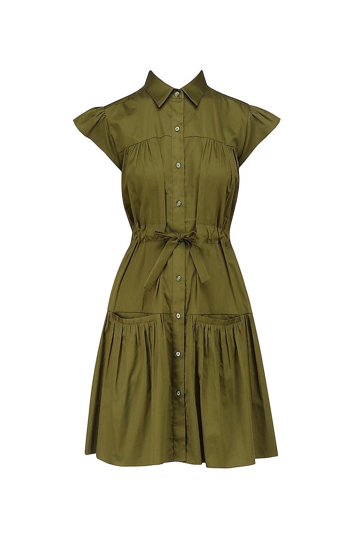 Military Green Shirt Dress by Ankita