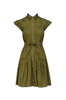 Military Green Shirt Dress by Ankita