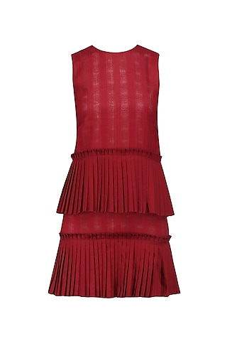 Burgandy Pleated Short Dress by Ankita