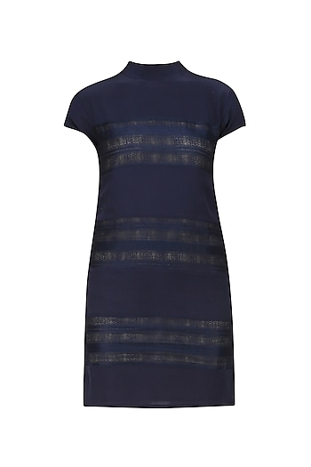 Navy Blue High Collar Dress by Ankita