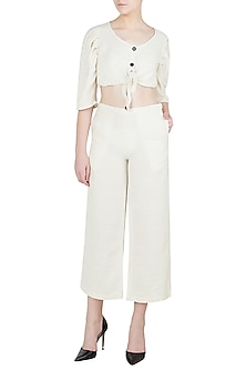 Off White Cropped Pants by Ankita