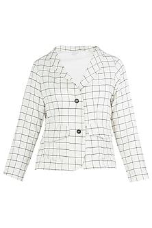 Off White Soft Shoulder Blazer by Ankita