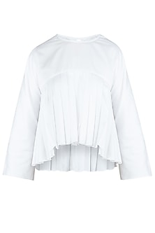 White Pleated Top by Ankita
