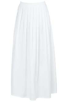 White A-Line Pleated Midi Skirt by Ankita
