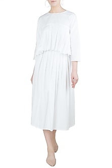 White A-Line Pleated Midi Skirt by Ankita