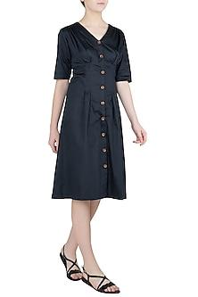 Navy Blue Button Down Pleated Midi Dress by Ankita