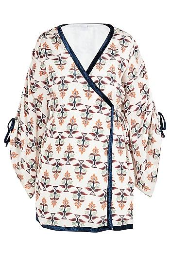 Beige and Black Wrap Kimono Dress by Ankita