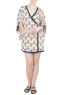 Beige and Black Wrap Kimono Dress by Ankita