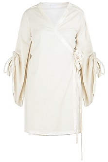 Beige Wrap Kimono Dress by Ankita