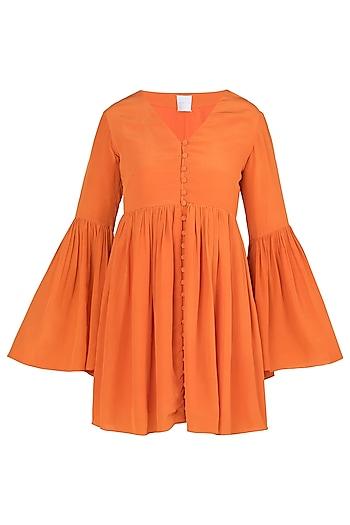 Orange Button Down Flared Dress by Ankita