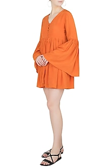 Orange Button Down Flared Dress by Ankita