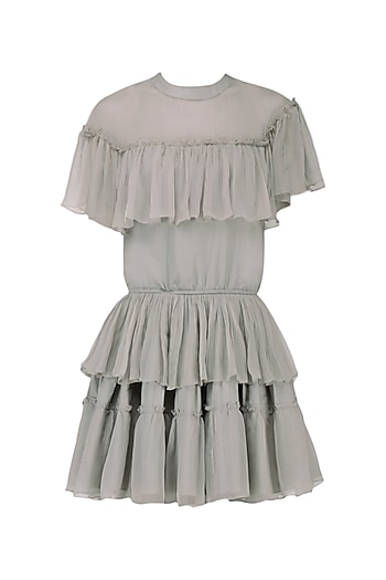 Silver Frill Layered Dress by Ankita