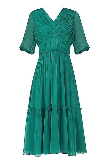 Teal Pleated Tier Dress by Ankita