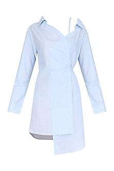 Blue One Shoulder Wrap Shirt Dress by Ankita