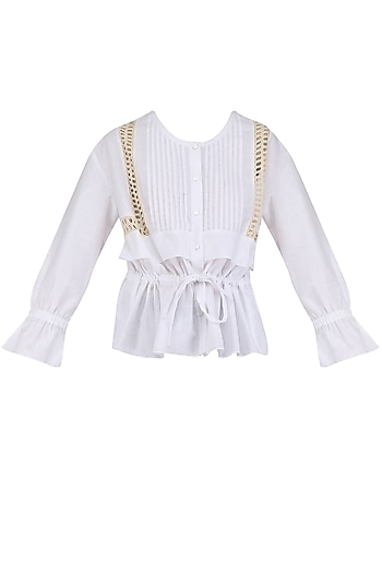White Lace Trim Tie Up Top by Ankita