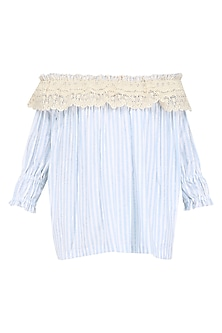 Blue Lace Trim Off Shoulder Top by Ankita