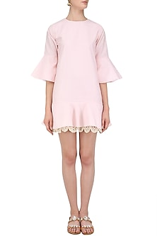 Pink Ruffled Shift Dress by Ankita