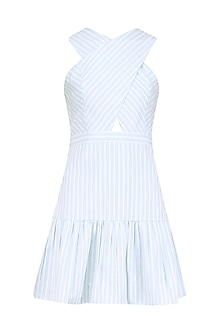 Blue Striped Crossover Dress by Ankita