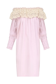 Pink Lace Work Off Shoulder Dress by Ankita