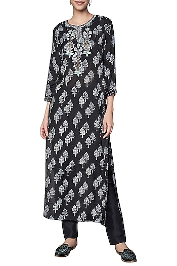 Black Block Printed and Embroidered Kurta by Anita Dongre