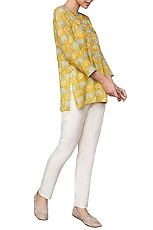Yellow Hand Block Printed Top by Anita Dongre