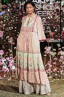 Baby Pink Printed Tunic With Embroidered Sharara Pants by Anita Dongre