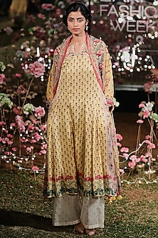 Sunny Yellow Printed Tunic With Trouser Pants by Anita Dongre