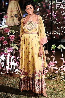Yellow Printed Dress With Jacket by Anita Dongre