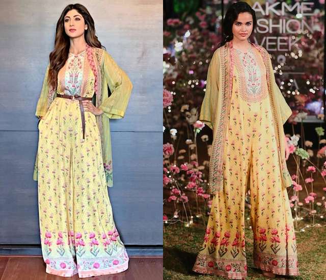 Yellow Floral Printed Jumpsuit With Jacket by Anita Dongre