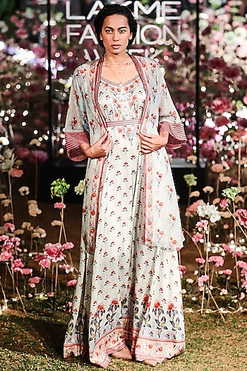 Mist Blue Floral Printed Jumpsuit With Jacket by Anita Dongre