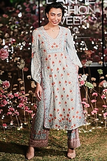 Mist Blue Printed Sequins Kurta With Trouser Pants by Anita Dongre