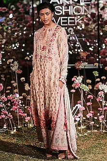 Pink Printed Sequins Kurta With Trouser Pants by Anita Dongre