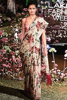 Nude Floral Saree Set by Anita Dongre