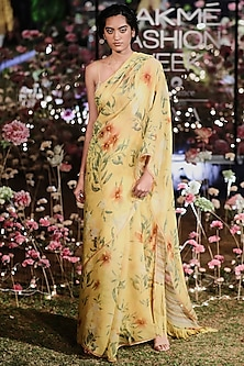 Mustard Floral Saree Set by Anita Dongre