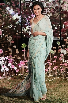Aqua Floral Saree Set by Anita Dongre
