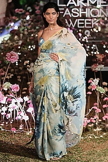 Blue Floral Saree Set by Anita Dongre