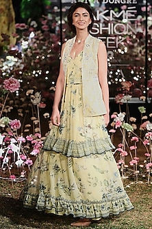 Lime Yellow Floral Dress With Embroidered Jacket by Anita Dongre