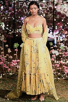 Yellow Embroidered Printed Lehenga Set by Anita Dongre