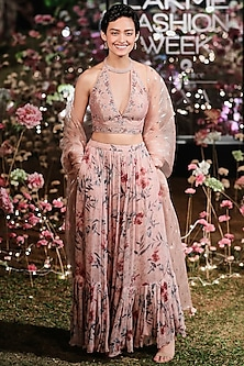 Old Rose Pink Embroidered Printed Lehenga Set by Anita Dongre