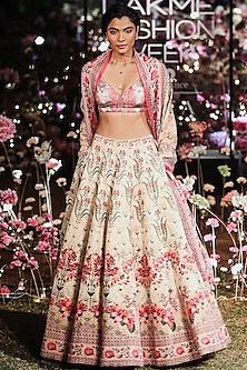 Pink Floral Printed Sequins Lehenga Set by Anita Dongre