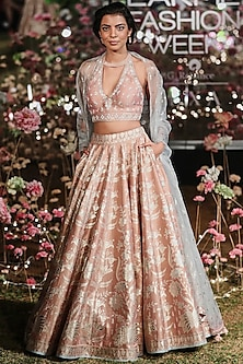 Onion Pink Embroidered Printed Lehenga Set by Anita Dongre