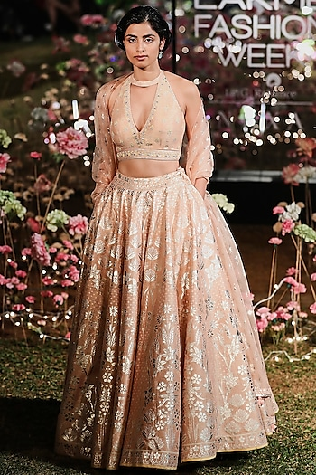 Blush Embroidered Printed Lehenga Set by Anita Dongre