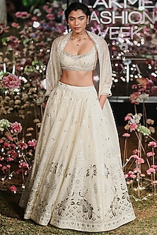 Natural Embroidered Printed Lehenga Set by Anita Dongre