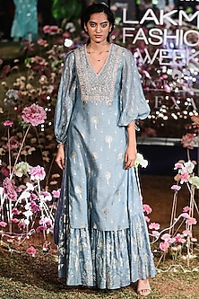 Surf Blue Printed Kurta With Sharara Pants by Anita Dongre