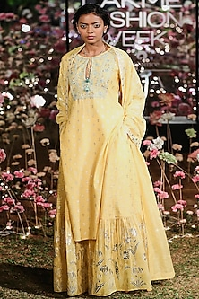 Yellow Printed Motif Sharara Set by Anita Dongre