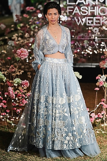 Surf Blue Embroidered Printed Lehenga Set by Anita Dongre