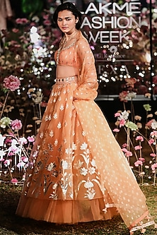 Apricot Embroidered Printed Lehenga Set by Anita Dongre