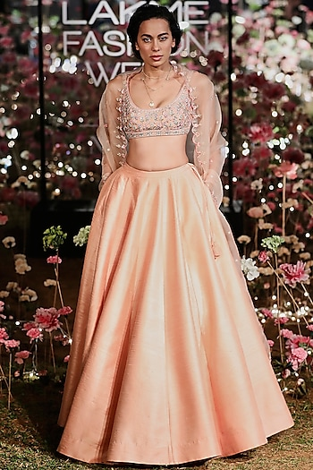 Blush Printed Embroidered Lehenga Set by Anita Dongre