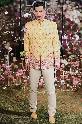 Sunny Yellow Floral Bandhgala Jacket With Pants by Anita Dongre Men