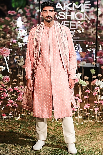 Pink Printed Kurta With Trouser Pants & Dupatta by Anita Dongre Men